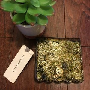 NWT Anthropologie Leather Metallic Bronze Wallet